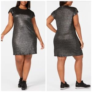 Michael Kors Metallic Ruffle Sleeve Dress Size 1X